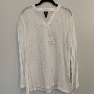 NWT Eileen Fisher White Stand Collar Caftan